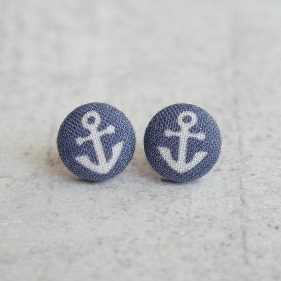 Rachel O's - Tiny Anchors Fabric Button Earrings