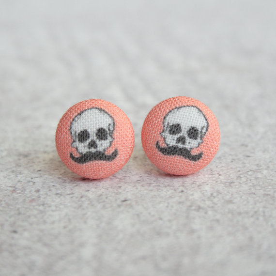 Rachel O's - Skull with a Mustache Fabric Button Earrings