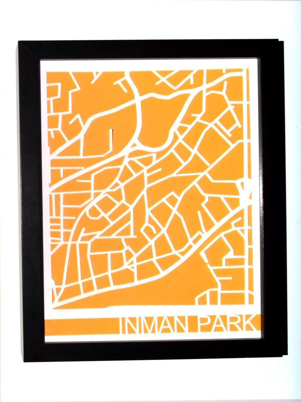 Inman Park Neighborhood Paper Cut Map – the beehive