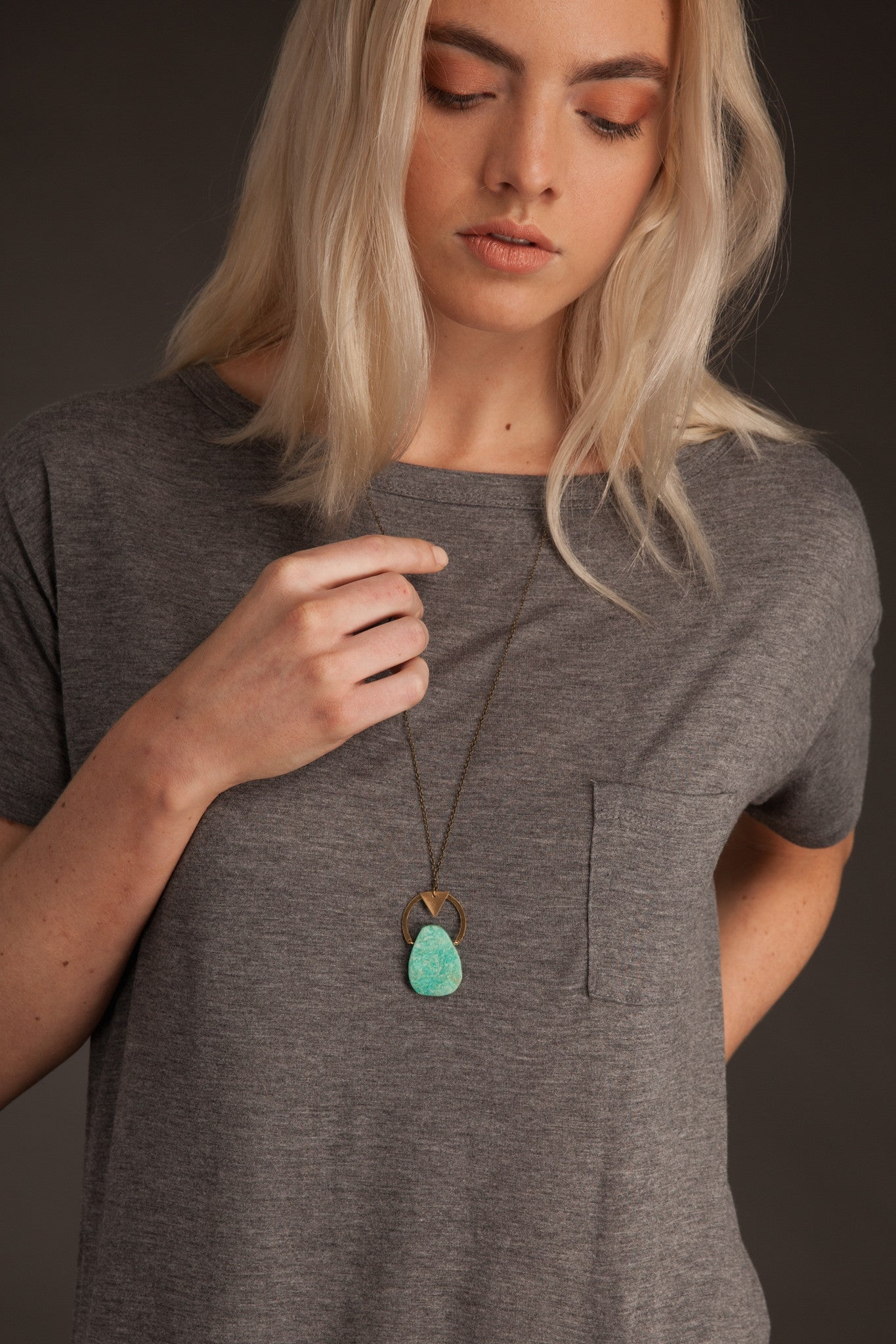 Celeste -- gemstone and brass pendant