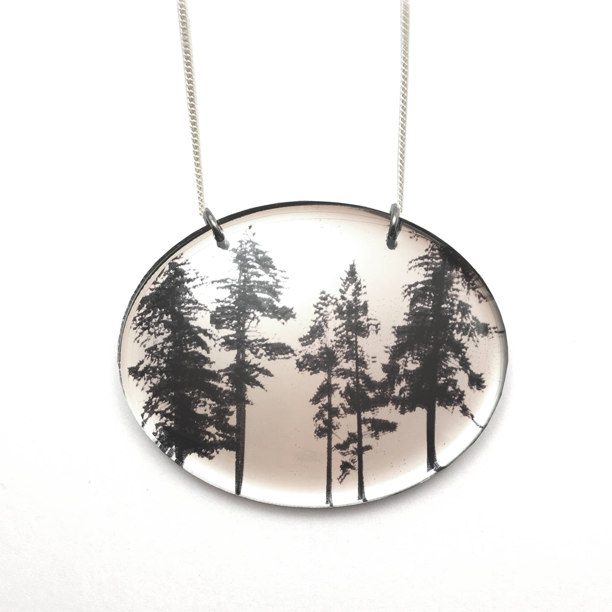 Black Drop Designs - Mirror Oval Forest Necklace