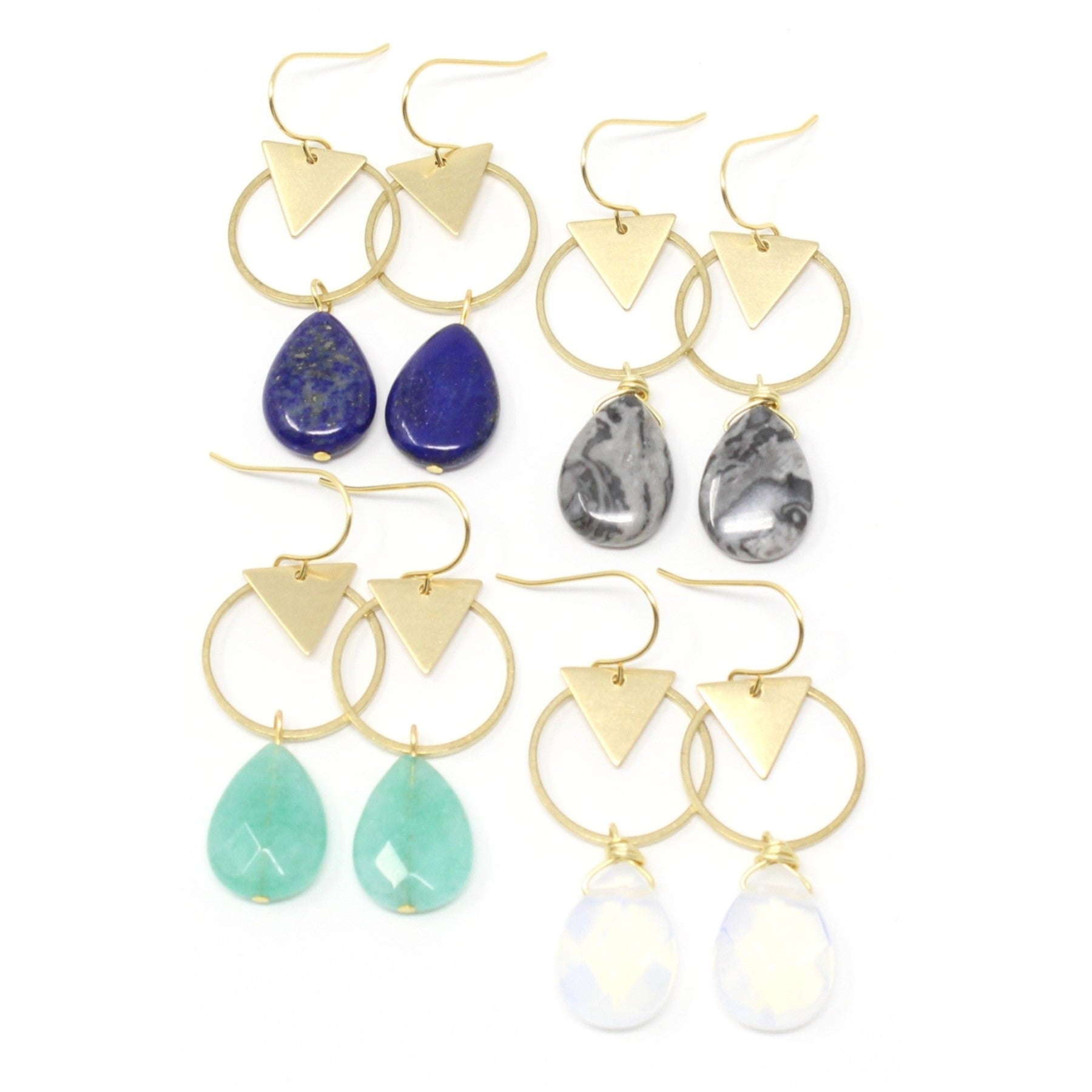 Cove -- gem teardrop and brass earrings