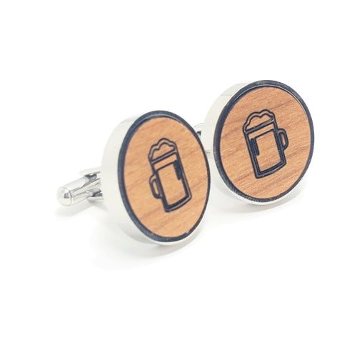 Beer Mug Stainless and Wood Cufflinks