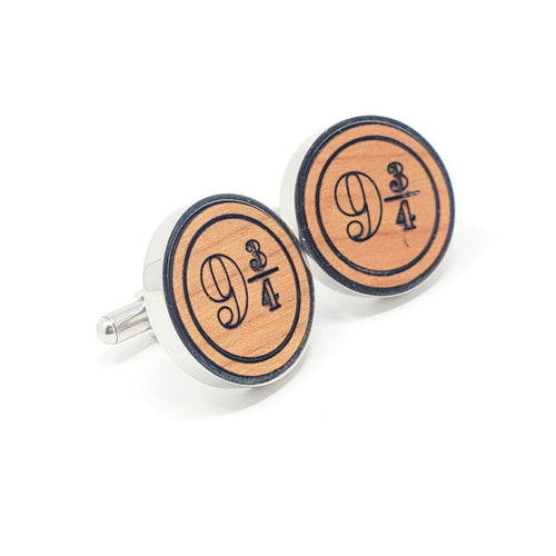 Platform 9 3/4 Stainless and Wood Cufflinks