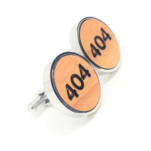 404 Stainless and Wood Cufflinks