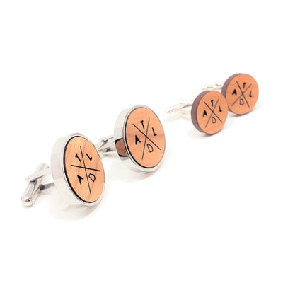 ATL Cross Stainless and Wood Cufflinks