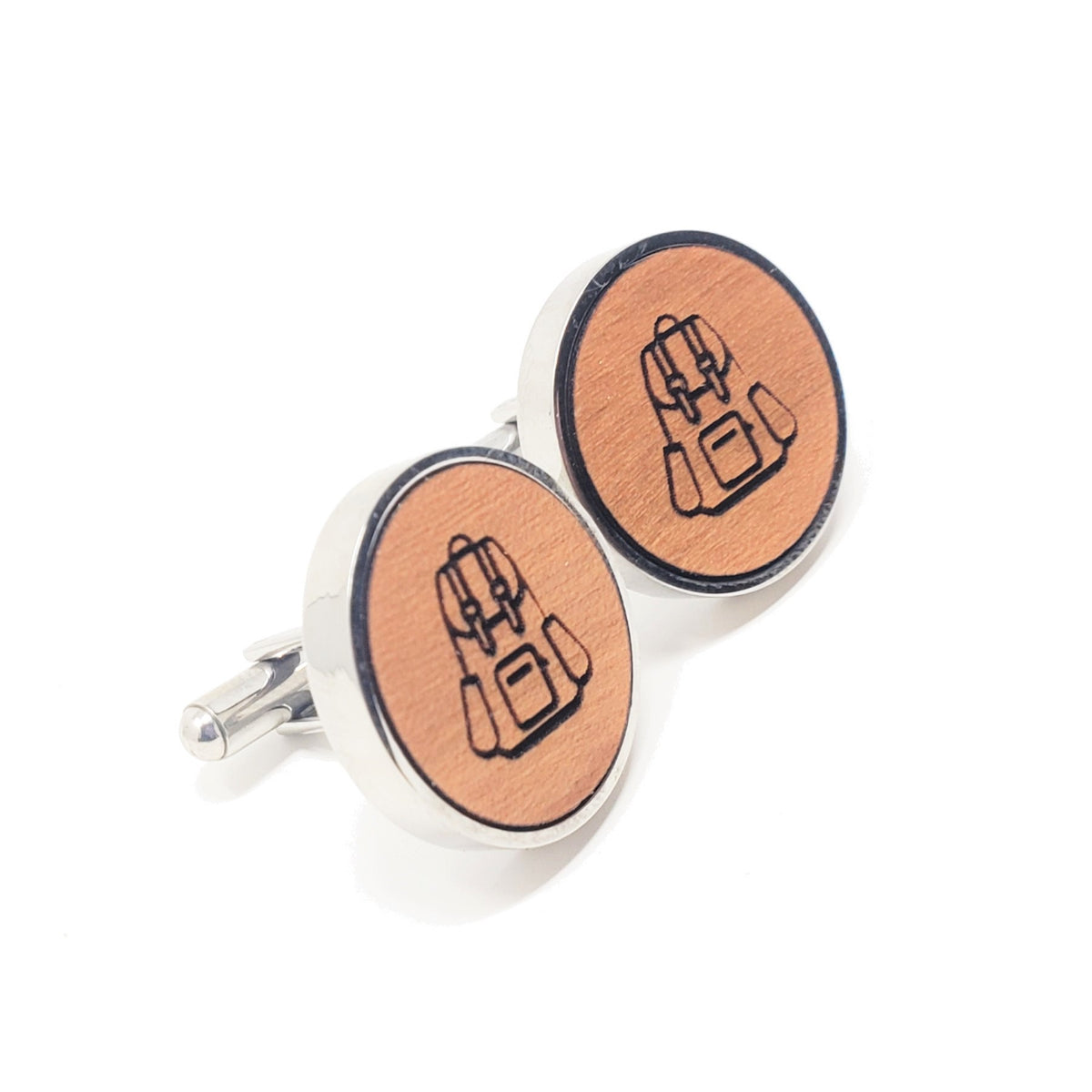 Backpack Stainless and Wood Cufflinks