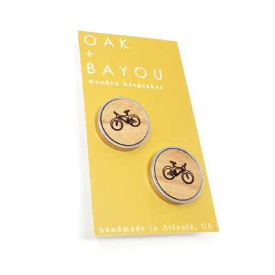 Bicycle Stainless and Wood Cufflinks
