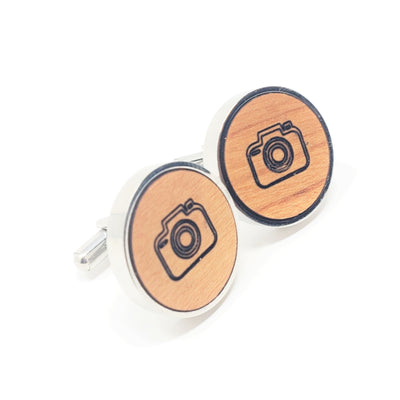 Camera Stainless and Wood Cufflinks