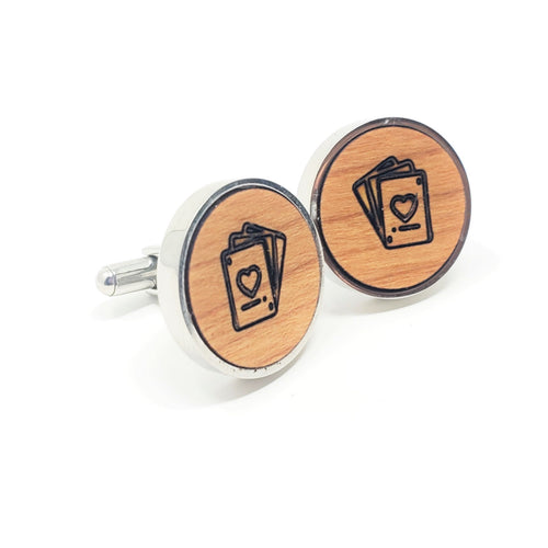 Cards Stainless and Wood Cufflinks