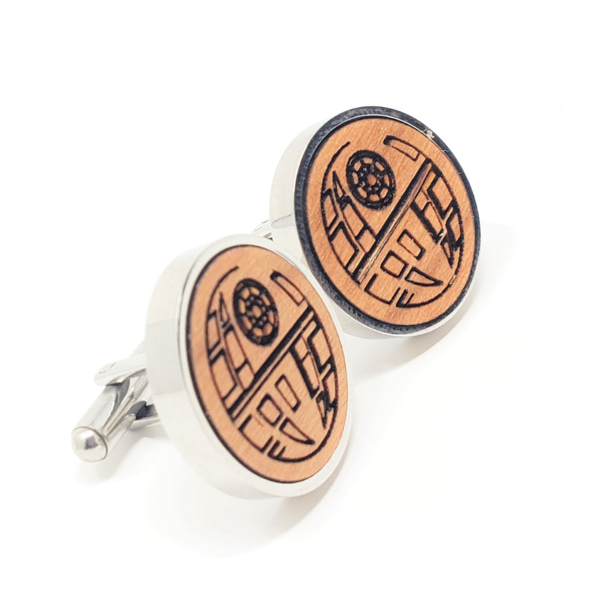 Death Star Stainless and Wood Cufflinks