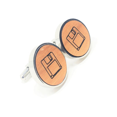 Floppy Disc Stainless and Wood Cufflinks
