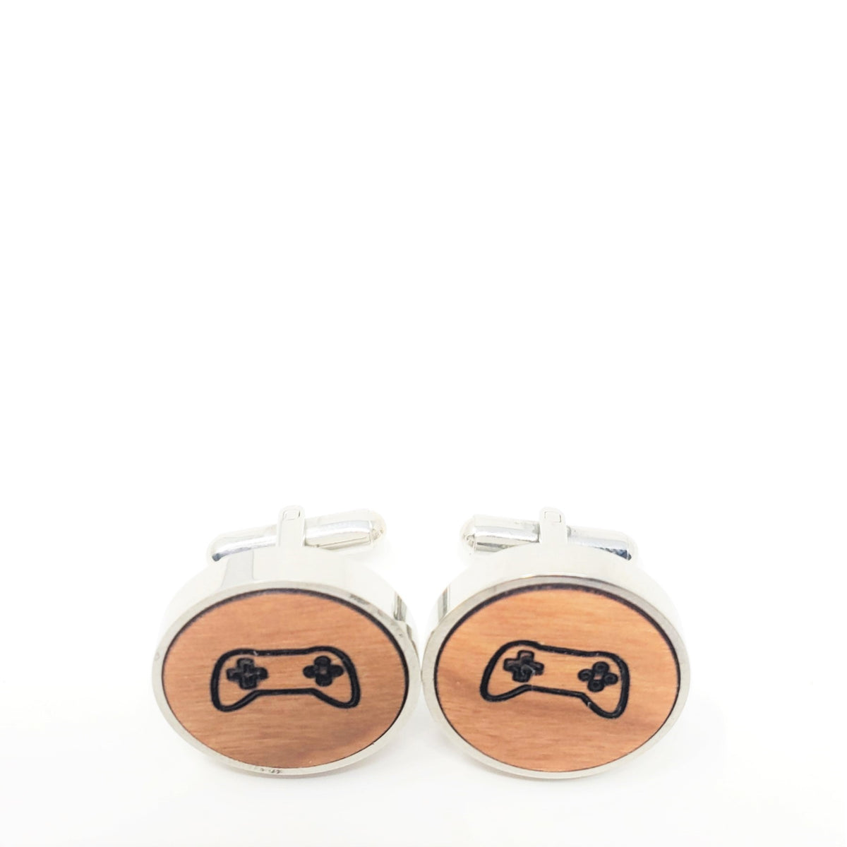 Game Controller Stainless and Wood Cufflinks