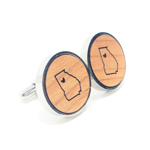 Georgia Heart Stainless and Wood Cufflinks