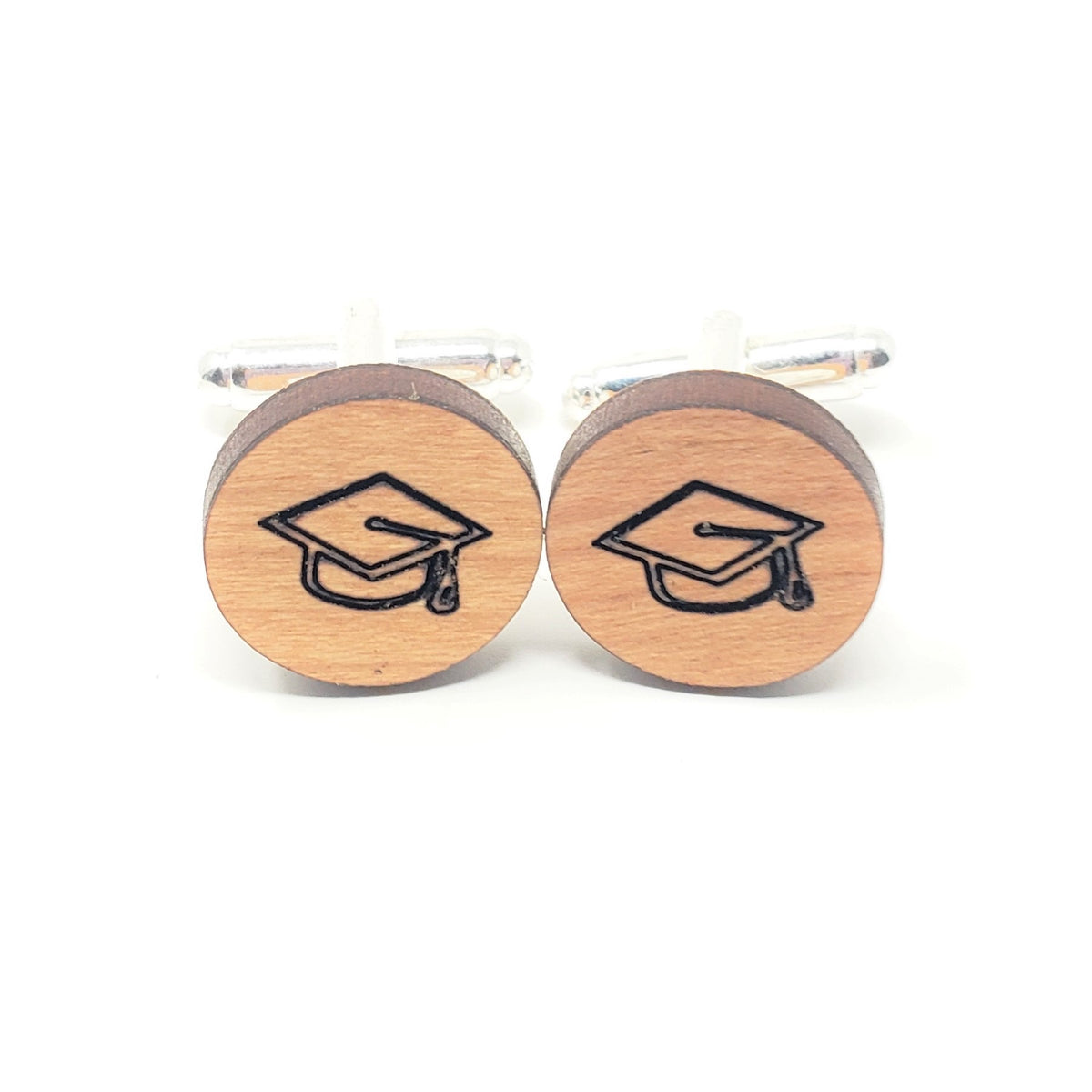 Graduation Hat Stainless and Wood Cufflinks