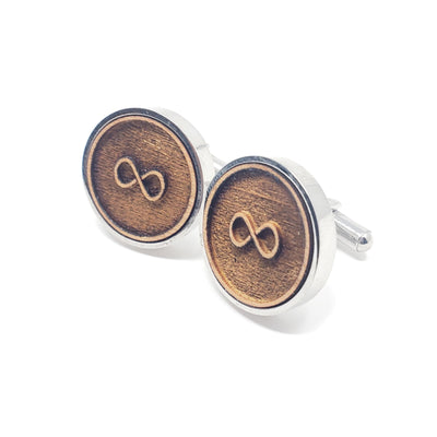 Infinity Symbol Stainless and Wood Cufflinks