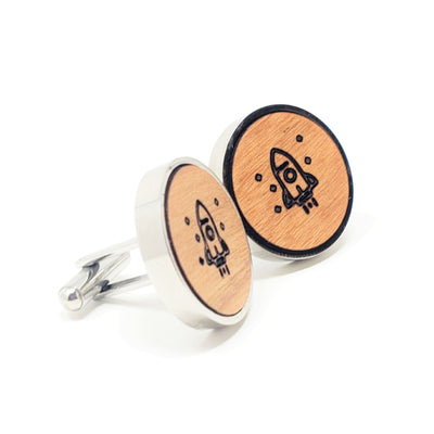 Rocket Ship Stainless and Wood Cufflinks