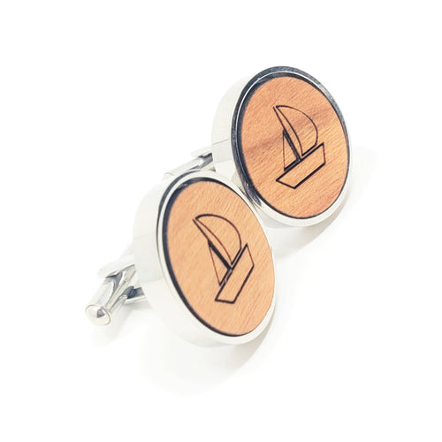 Sailboat Stainless and Wood Cufflinks