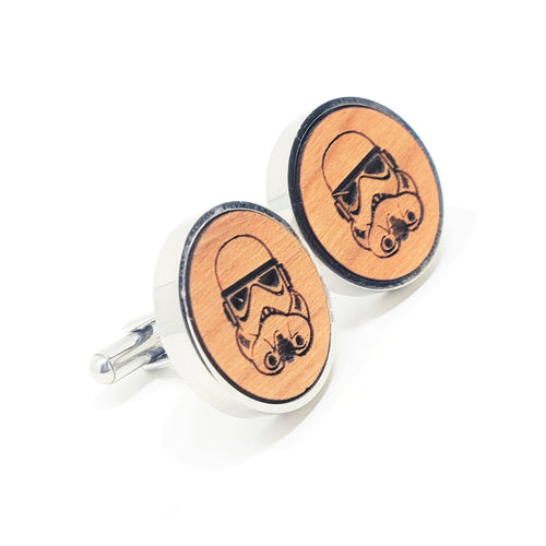 Storm Trooper Stainless and Wood Cufflinks