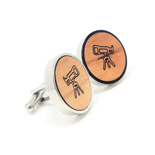 Telescope Stainless and Wood Cufflinks
