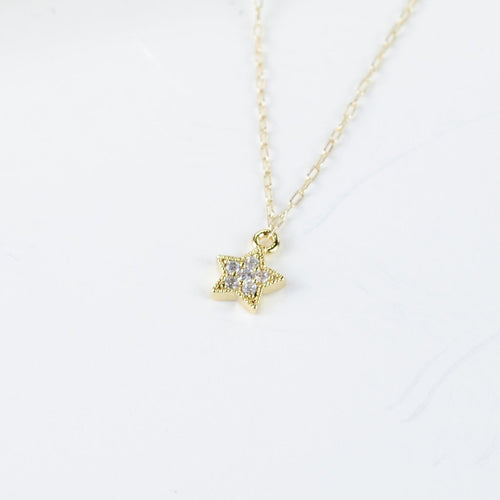 CZ Star Necklace, Gold Filled