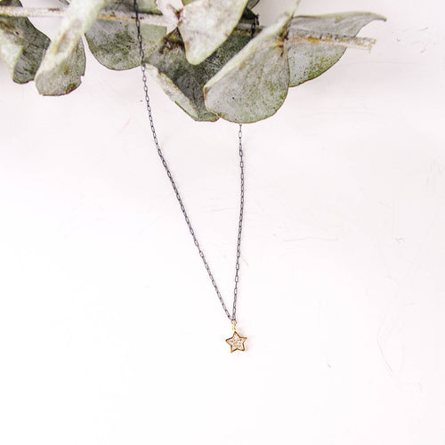 CZ Star Necklace, Gold Filled on Oxidized Chain