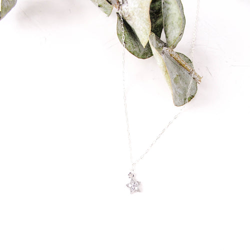 CZ Star Necklace, Silver