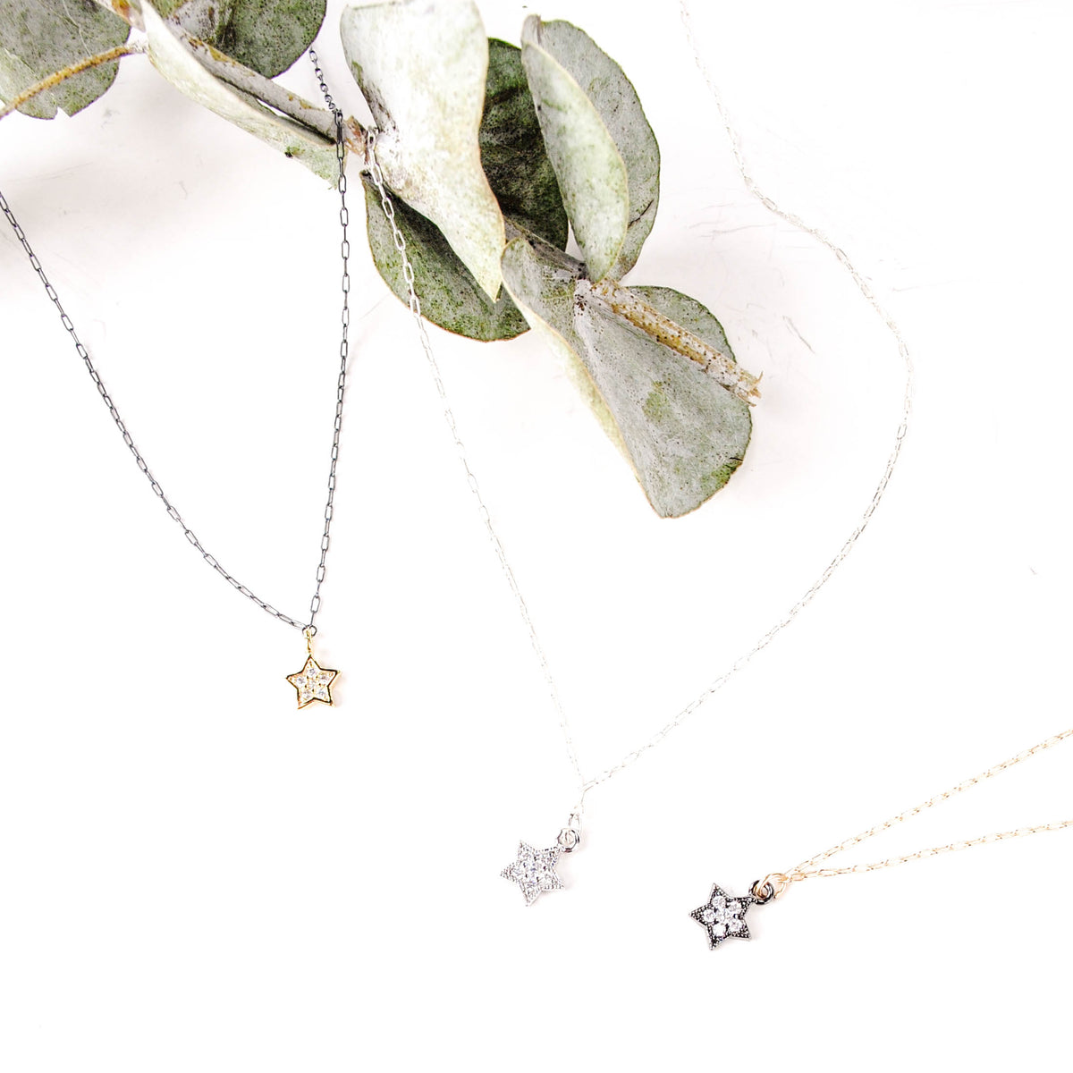 CZ Star Charm on GF Chain Necklace