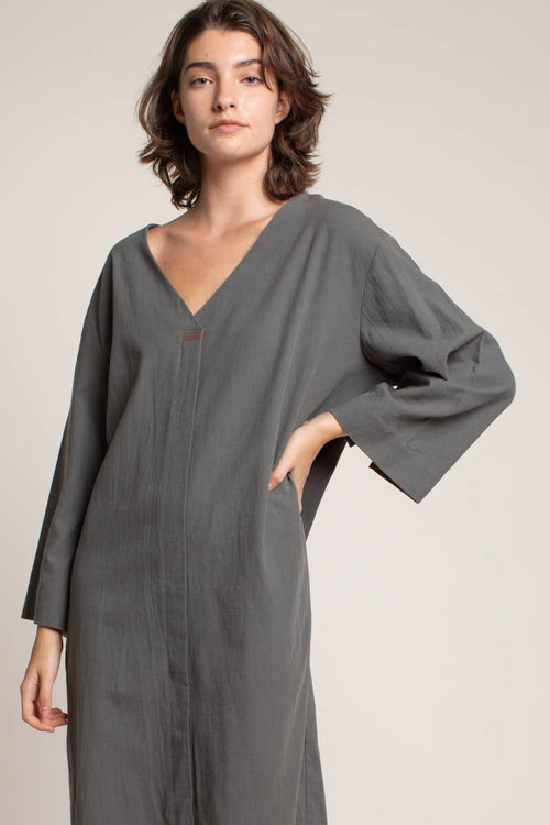 Pine Detail Neckline Cocoon Dress