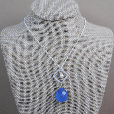 diamond link and stone pendant - sterling silver