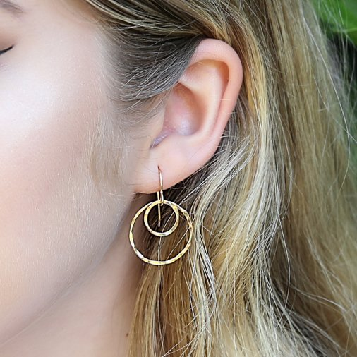 double ring earring - gold-filled