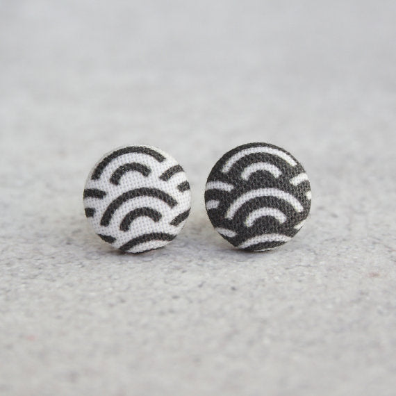 Rachel O's - Black and White Waves Fabric Button Earrings