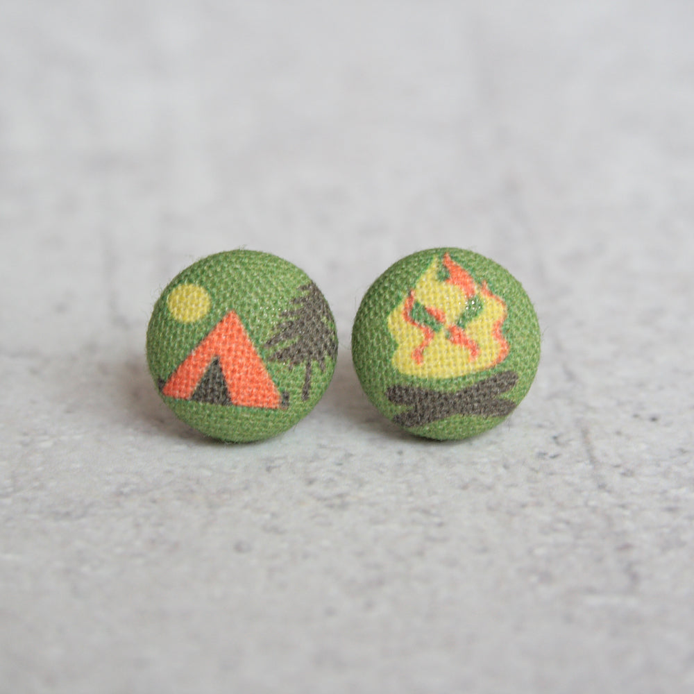 Rachel O's - Camp Fabric Button Earrings