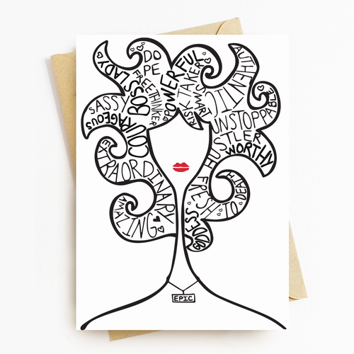 """Epic Lady"" Motivational Greeting Card"