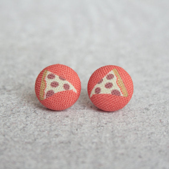 Rachel O's - Pizza Fabric Button Earrings