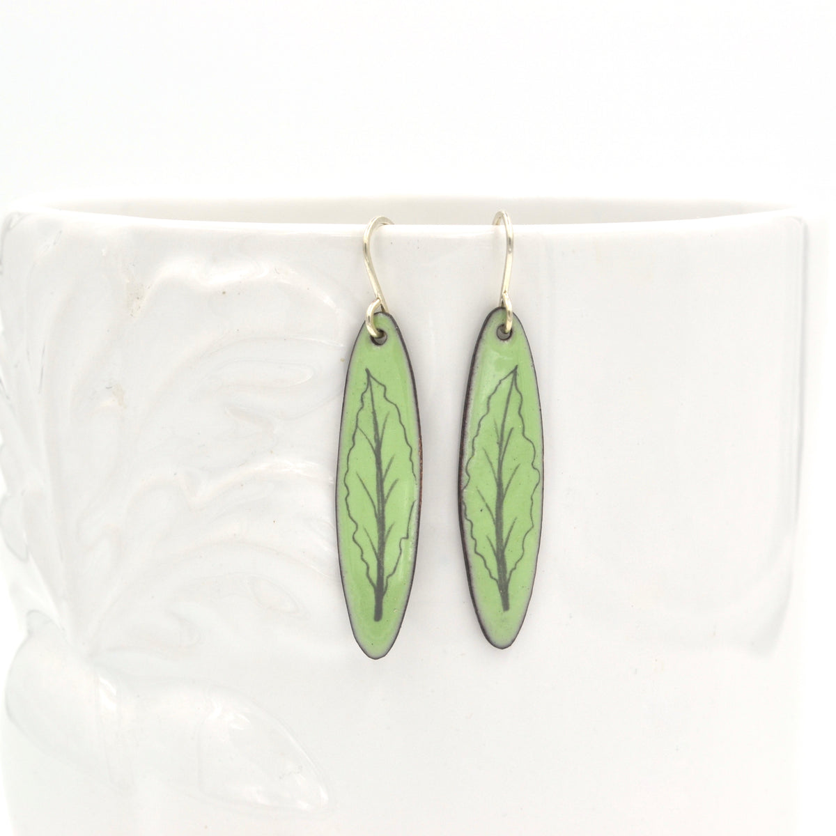 Green Enamel Kale 'Doodle' Earrings