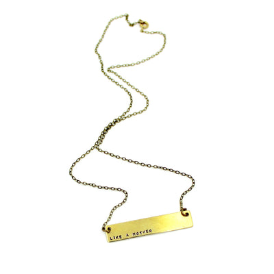 Like A Mother Brass Bar Necklace