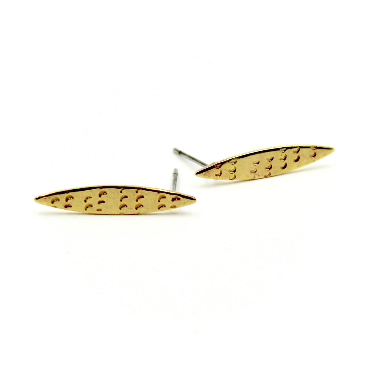 Marquis Stamped Earrings - Brass