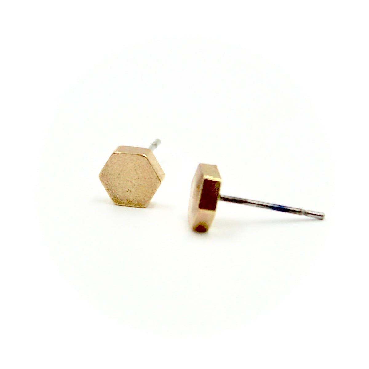 Hexagon Earrings - Brass