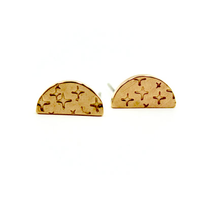 Crosshatched Semi Circle Earrings - Brass
