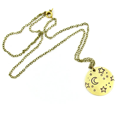 Moon & Stars Necklace - Brass