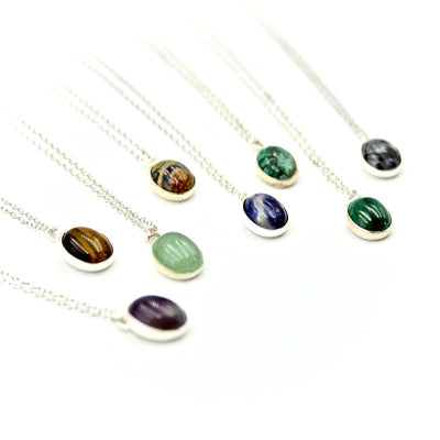 Oval Gemstone Necklace - Sterling Silver