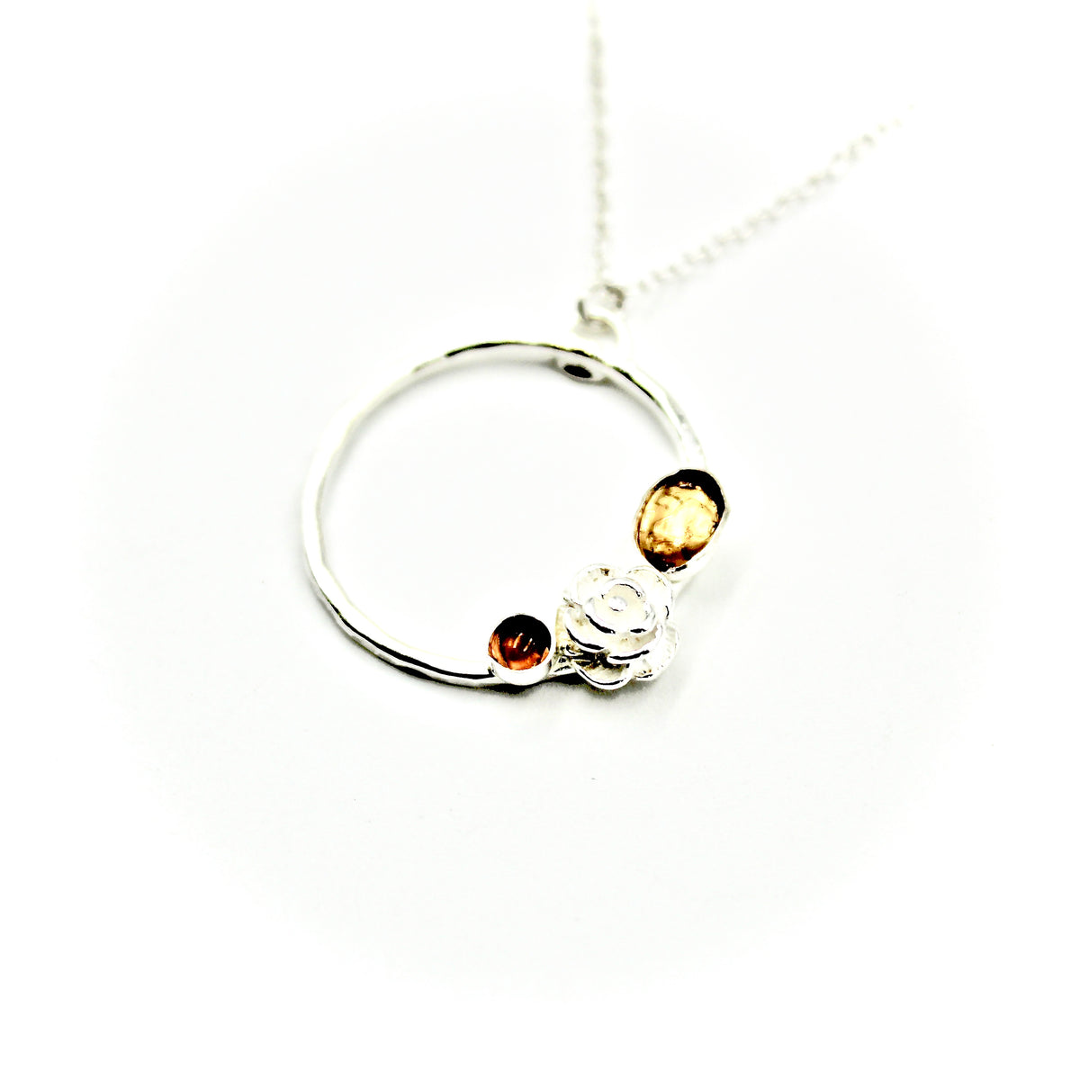 Citrine & Rose Circle Necklace