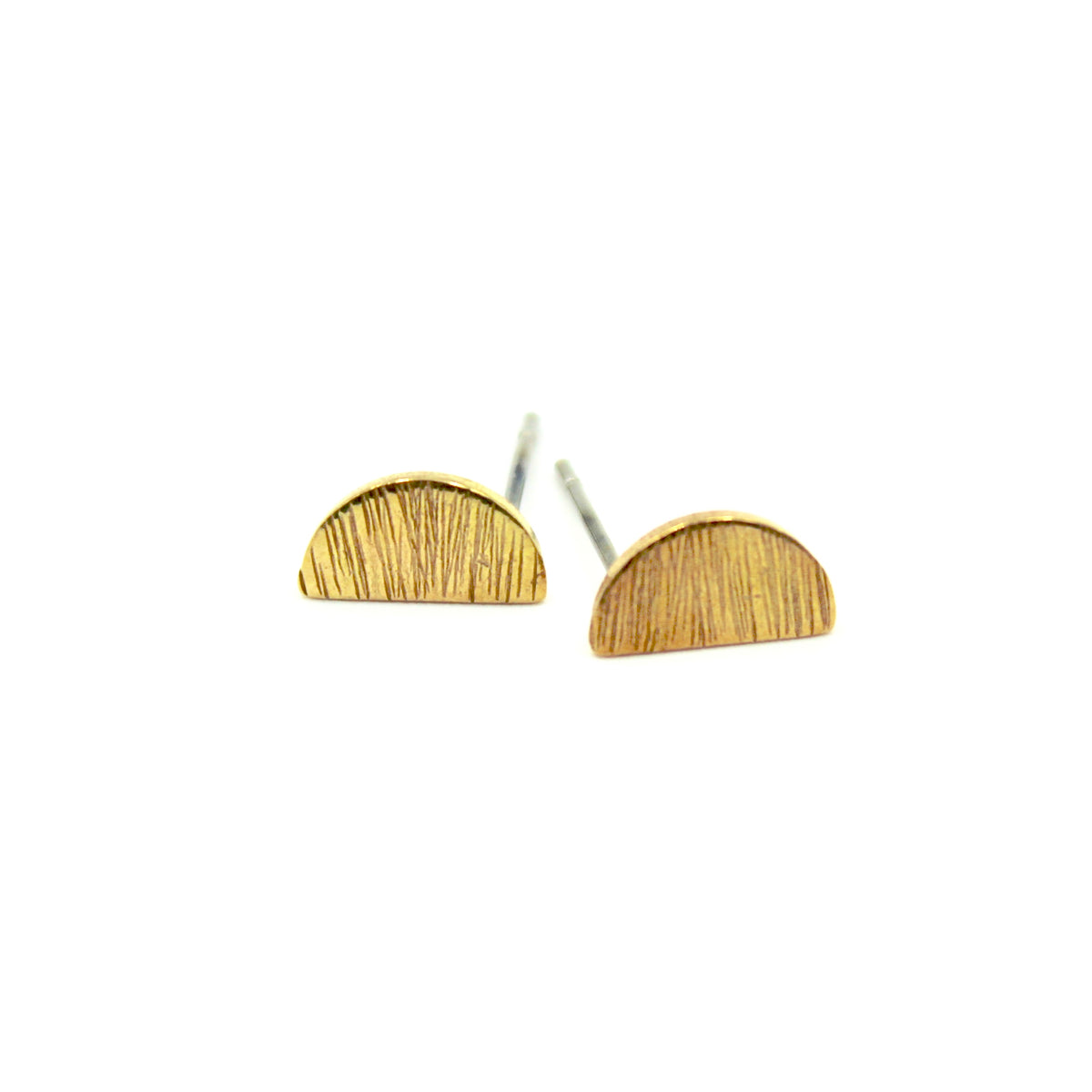 Brushed Semi Circle Earrings - Brass