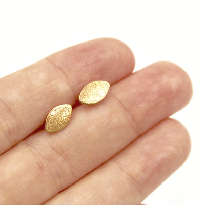 Frosted Marquis Earrings - Brass
