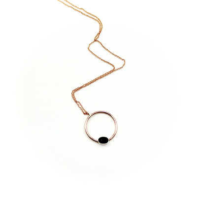 Onyx & Rose Gold-Filled Circle Necklace