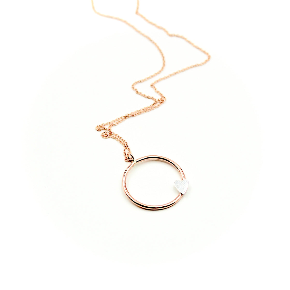 Tilted Heart Rose Gold-Filled Circle Necklace
