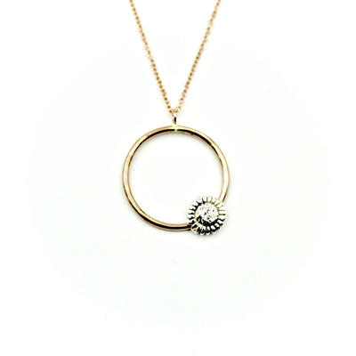 Sunflower Rose Gold-Filled Circle Necklace