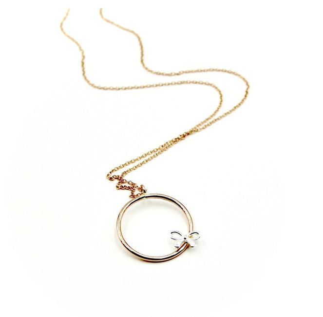 Bow Rose Gold-Filled Circle Necklace