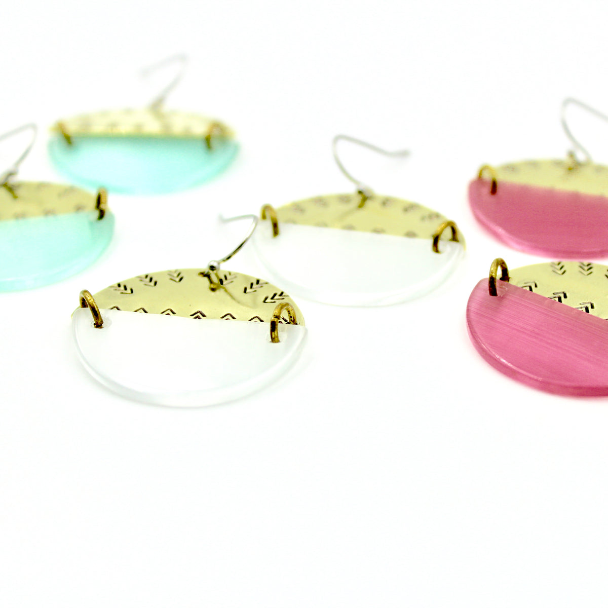 Pastel Half Circle Earrings